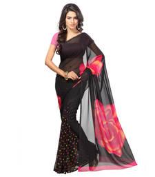 Buy Black and Pink printed art silk saree with blouse printed-saree online