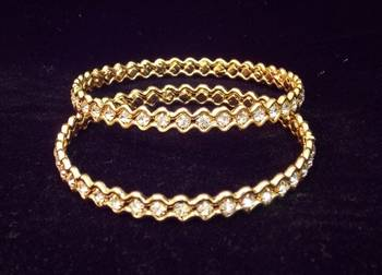 Beautiful Ethnic Zircon stud Gold Platted  Bangles