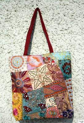 Gorgeous Shopping Bag with Hand Embroidered Patch Work