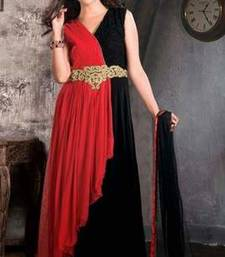 Buy Red and Black Hand work viscose semi stitched party-wear-gowns party-wear-gown online