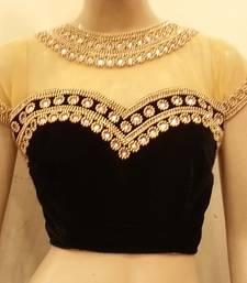 Buy Black velvette and nude colour net bridal-blouse online