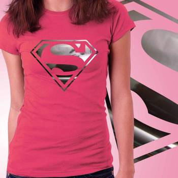 Superhero Girls Foil T-shirt at Offer, Womens Silver Special Effect Tshirt