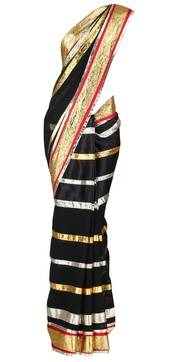 Black with Gold and silver saree