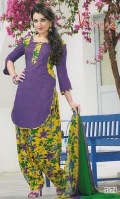 Crepe dress material elegant designer unstitched salwar suit d.no 5174