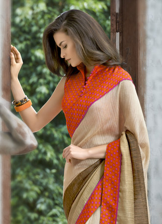 Buy Beige Printed Linen Saree With Blouse Online