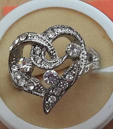 Buy Stone studded heart shaped silver finger Ring engagement-ring online