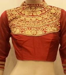Buy Maroon dupion silk highneck zari embroidered blouse readymade-blouse online