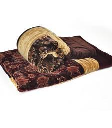 Buy Floral Printed Brown Double Bed Velvet Quilts jaipuri-razai online