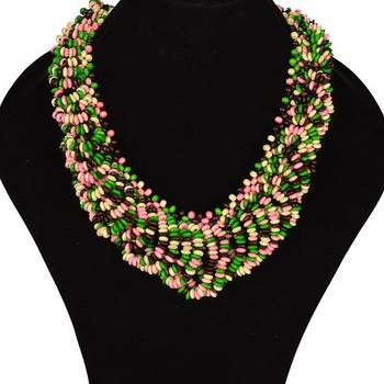 Chunky woodbeads green necklace