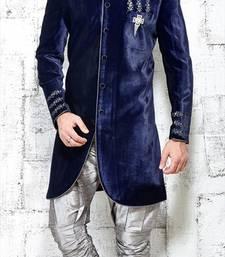 Buy blue embroidered brocade sherwani wedding-season-sale online