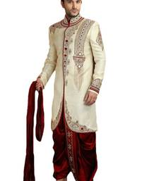 Buy gold embroidered brocade sherwani sherwani online