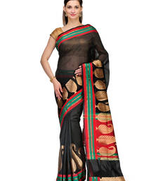 Buy Black woven cotton silk saree with blouse cotton-silk-saree online