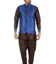 Buy brown art silk kurta pyjama pakistani-sherwani online