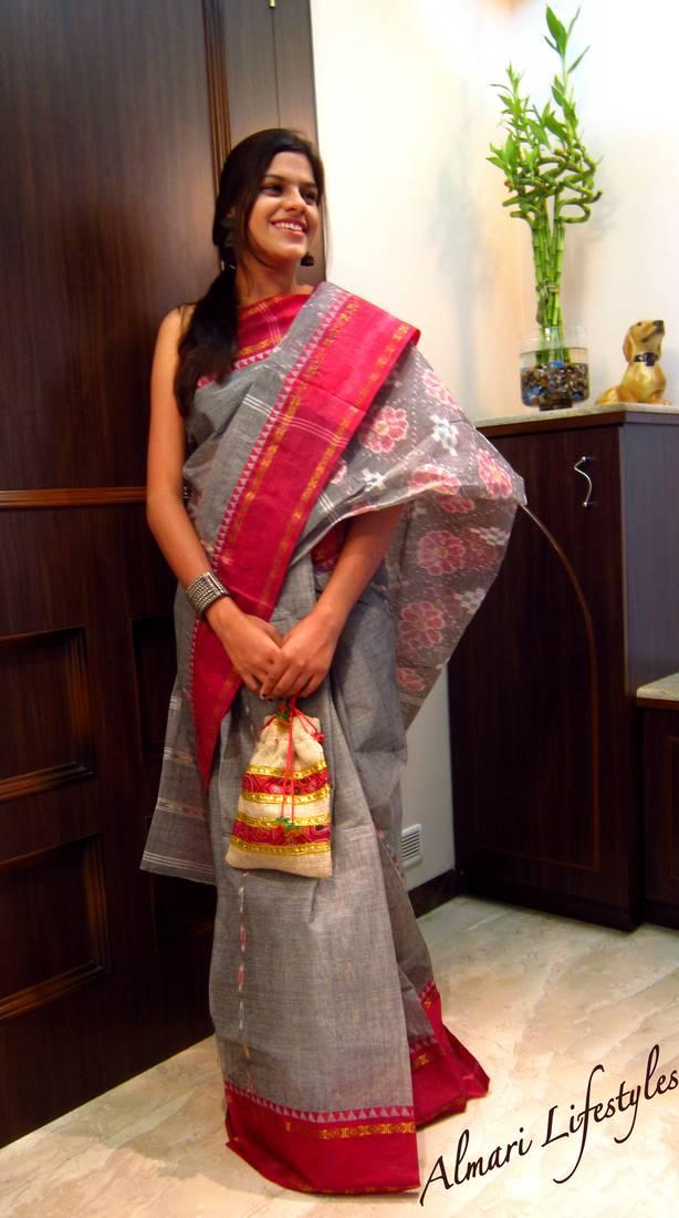 Buy Calcutta Cotton Sari In Grey And Red Online