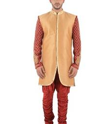 Buy gold embroidered brocade sherwani indo-western-dress online