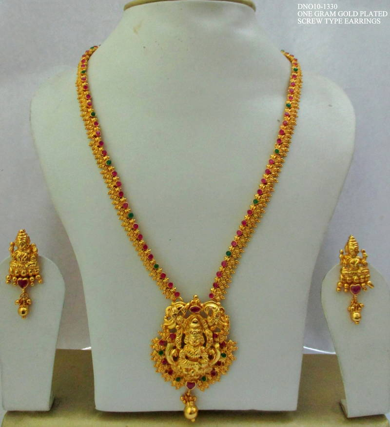 One Gram Gold Plated Lakshmi Haram & Buy One Gram Gold Plated Lakshmi Haram Online