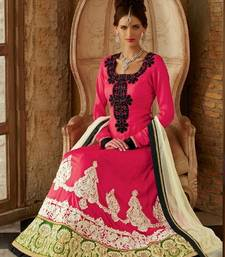 Buy Pink embroidered silk semi stitched salwar with dupatta anarkali-salwar-kameez online