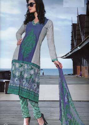 Elegant Cotton Dress Material With Chiffon Dupatta Unstitched Salwar Suit D.No 3044