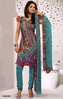 Dress Material Elegant French Crepe Printed Unstitched Salwar Kameez Suit D.No 5061