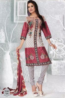 Dress Material Elegant French Crepe Printed Unstitched Salwar Kameez Suit D.No N124