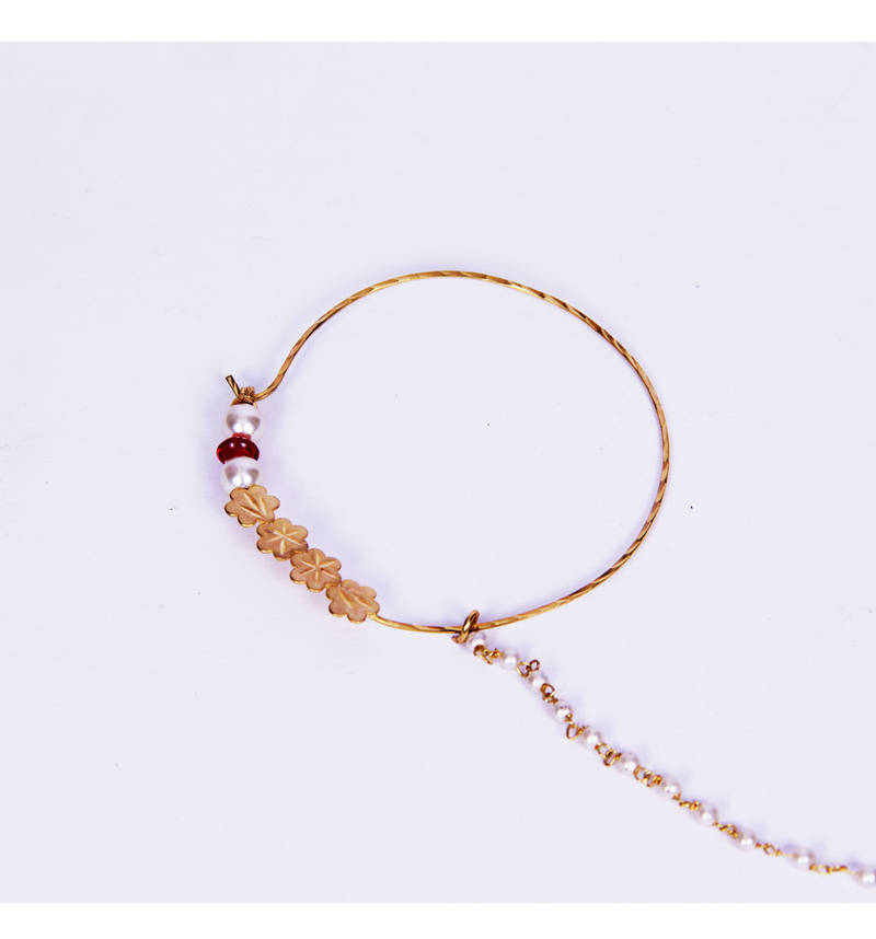 Buy Simple Gold Plated Flower Shaped Maroon Polki Pearl Nathni ...