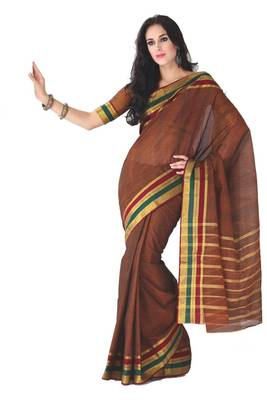 ISHIN Cotton Dark Orange Sarees Shanghai