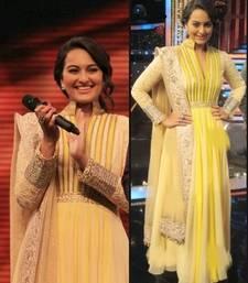 Buy Yellow  embroidered georgette semi stitched salwar with dupatta pakistani-salwar-kameez online