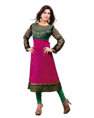 ISHIN Cotton Stitched Red-Green Kurti ANSHU
