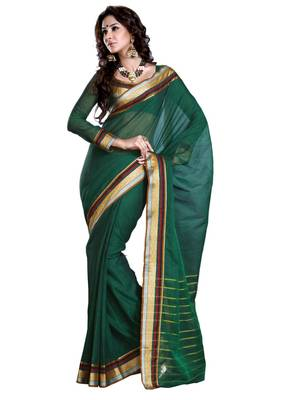 ISHIN Cotton Green Saree Neelima
