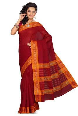 ISHIN Cotton Red Saree Madhuri