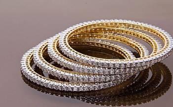 American Diamond Single Line Real Look Bangles
