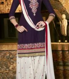 Buy Dark Purple embroidered Pure Cotton unstitched salwar with dupatta dress-material online