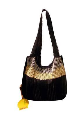 Luscious Black colour sequined jhola bag