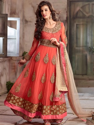 Buy Orange Embroidered Net Semi Stitched Salwar With