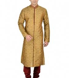 Buy BROWN SELF DESIGN JACQUARD KURTA PAYJAMA kurta-pajama online