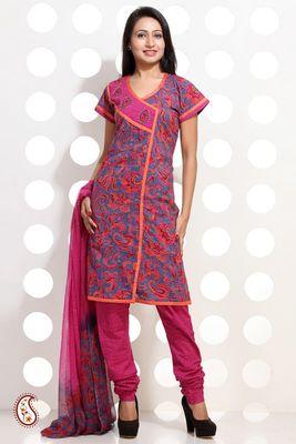 Pink and Blue Block Printed Churidar set