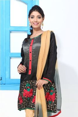 Satin Silk Black embroidery and print short kurti suit
