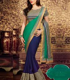 Buy Green & Blue embroidered georgette saree  with blouse wedding-season-sale online