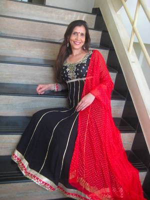 Black & Red long anaarkali
