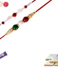 Buy Designer Rakhi Set of 02, with 200 gms. Kaju katali rakhi-with-sweet online