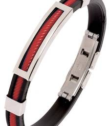 Buy Biker Red Silicon Stainless Steel Openable Kada Bracelet for Men Bracelet online