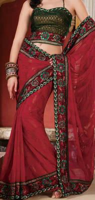 Chiffon saree with embroidery border - Riyaa 902506