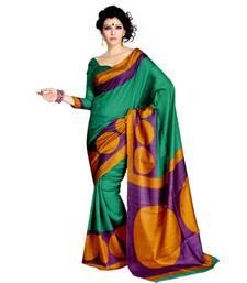 Buy GREEN PRINTED BHAGALPURI SILK SAREE WITH BLOUSE shimmer-saree online