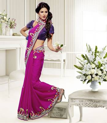 Elegant Designer Sari Saffron 211