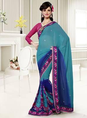 Elegant Designer Sari Saffron 214