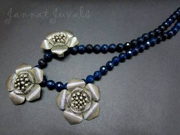 Blue Onyx and Flower necklace