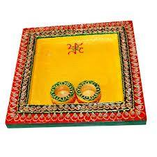 Square shaped pooja thali with two bowls for roli and chawal