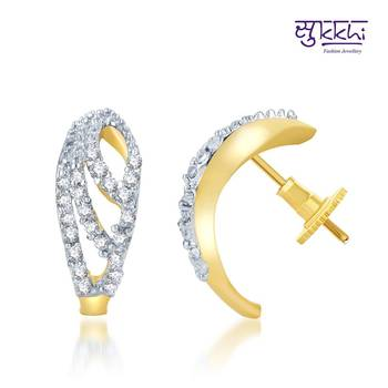 Sukkhi Enchanting Gold and Rhodium Plated CZ Earrings(140E310)