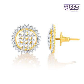 Sukkhi Ravishing Gold and Rhodium Plated CZ Earrings(141E1500)