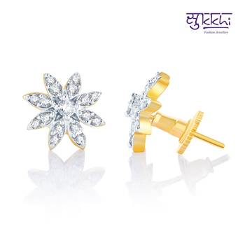 Sukkhi Beguilling Classy Gold and Rhodium Plated CZ Earrings(142E800)